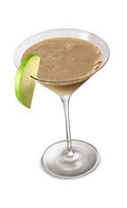 The Irish Carmel Appletini is a brown colored cocktail made from Bailey's irish cream, Smirnoff green apple vodka, caramel and apple, and served in a chilled cocktail glass.