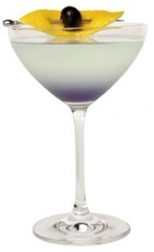 The Italian Aviation is a variation of the classic Aviation cocktail recipe. Made from Luxardo gin, maraschino liqueur, violet liqueur and lemon juice, and served in a chilled cocktail glass garnished with a lemon peel and maraschino cherry.