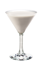 The Kissable is a cream colored cocktail made from Smirnoff orange vodka, white creme de cacao and milk, and served in a chilled cocktail glass.