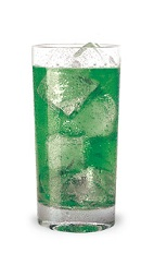The Lickin Lizard is a green drink made from melon liqueur, Pucker Island Punch Schnapps, gin, lemon juice and club soda, and served over ice in a highball glass.