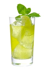 The Loretto Lemonade is made from Midori melon liqueur, bourbon whiskey, lime juice and ginger beer, and served over ice in a highball glass.