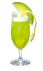 The Maple Fizz drink is made from Midori melon liqueur, gin, lemon juice, maple syrup, egg white, honeydew melon and club soda, and served in any tall, stemmed glass.