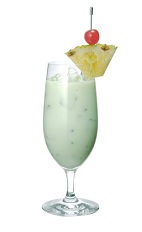 The Midori Colada drink is made from Midori melon liqueur, whie rum, coconut milk, pineapple juice and lemon juice, and served in a hurricane or other large stemmed glass.
