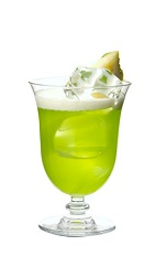 The Midori Splice cocktail is made from Midori melon liqueur, Malibu coconut rum, pineapple juice and coconut cream, and served in a parfait or other stemmed glass.