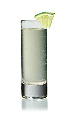 The Mini Mule Shot is made from Stoli vodka, ginger ale and lime juice, and served in a chilled shot glass.