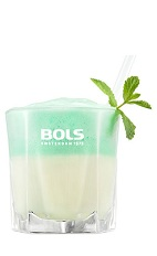 The Mint and Ice is a relaxing green drink made from peppermint schnapps, brandy, milk, vanilla ice cream, mint and Bols Peppermint Foam liqueur, and served in a rocks glass.