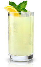 The New Berry Lemonade is a yellow colored drink made from New Amsterdam Red Berry vodka, lemonade and mint, and served over ice in a highball glass.
