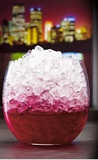 The O de Cassis is a dark red drink made from Joseph Cartron creme de cassis, beet juice, lemon juice and brown sugar, and served over crushed ice in a rocks glass.