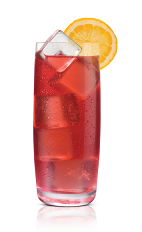 The O Rouge drink is made from Stoli Ohranj orange vodka, cranberry juice and club soda, and served in a highball glass.