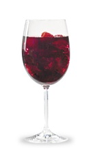 The One and One Razz Sangria is made from raspberry schnapps, red wine, fresh fruit and club soda, and served with ice in a wine glass.