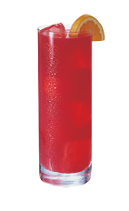 The Orange Berry is a red colored drink made from Smirnoff orange vodka, cranberry juice and lime juice, and served over ice in a highball glass.