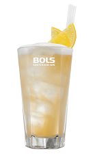 The Orange Collins is a sweet and refreshing way to celebrate a summer wedding, or simply relaxing in a hammock. An orange drink made from genever, Bols Dry Orange liqueur, lemon juice, simple syrup, bitters, club soda and Bols Cacao White Foam liqueur, and served over ice in a highball glass.