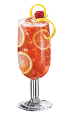 The PAMA Lemonade drink recipe is a refreshing cocktail to cool you down on a hot summer day. An orange colored drink made from PAMA pomegranate liqueur, citrus vodka, raspberry puree and lemonade, and served over ice in a tall glass.