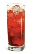 The Pacific Rim is a red drink made from Pucker watermelon schnapps, cranberry schnapps, peach schnapps, sour mix, orange juice and club soda, and served over ice in a highball glass.