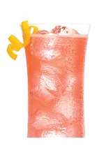 The Parisian Sparkler is made from Chambord flavored vodka, pineapple juice and champagne, and served over ice in a highball glass.