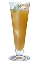 The Peach Fuzz drink is made from Midori melon liqueur, dark rum and grapefruit juice, and served over ice in a highball glass.
