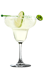 The Perfect Margarita is made from Rose's triple sec cordial, Rose's lime cordial and tequila, and served in a salt-rimmed margarita glass.