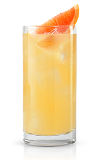 The Pit Bull is a yellow colored drink made form New Amsterdam vodka, lime juice, grapefruit juice and lemon-lime soda, and served over ice in a highball glass.