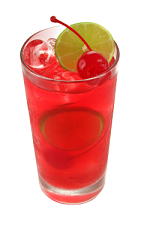 The Pomegranate Cherry Limeade is a red colored drink made from Smirnoff pomegranate vodka, lemonade, lemon-lime soda, cherry syrup and lime, and served over ice in a highball glass.