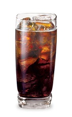 The Ragin Rootbeer is a brown drink made from root beer schnapps, vanilla schnapps, spiced rum and cola, and served over ice in a highball glass.