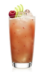 The Rapple is a peach colored drink that can be served any time of the year, from a Halloween cocktail party to a summer pool party. Made from Malibu coconut rum, cloudy apple juice and raspberries, and served over ice in a highball glass.
