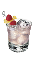 The Raspberry Twist is made from Smirnoff raspberry vodka, lemon juice, bitters and lemon-lime soda, and served over ice in a rocks glass.