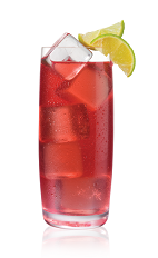 The Red and Gold drink is made from Stoli Gold vodka, cranberry juice, lime and lemon-lime soda, and served over large ice cubes in a highball glass.