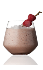 The Rose Streaked Horizon is made from Amarula cream liqueur, heavy cream, crushed ice and raspberries, and served in a rocks glass.