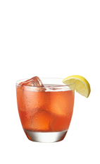 The Royal Apple drink is made from Smirnoff Green Apple vodka, Crown Royal whiskey, cranberry juice and sour mix, and served over ice in a rocks glass.