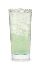 The Sour Apple Highball is a green colored drink made from Pucker sour apple schnapps, vodka and lemon-lime soda, and served over ice in a highball glass.
