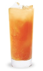 The Sour Apple Madras is an orange colored drink made form Pucker sour apple schnapps, vodka, cranberry juice and orange juice, and served over ice in a highball glass.