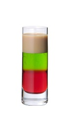 The Squashed Frog is a multi-colored layered shot made from Midori melon liqueur, advocaat and grenadine, and served in a chilled shot glass.