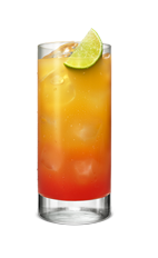 The Sunrise drink is a vibrant orange-colored drink made from Smirnoff citrus vodka, orange juice and grenadine, served over ice in a highball glass.