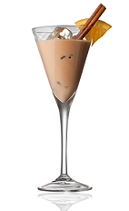 The Sunset Safari is a brown colored drink made from Amarula cream liqueur, Disaronno almond liqueur, citrus vodka and cinnamond, and served in a chilled cocktail glass.