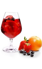 The Superfruit Sangria cocktail is a red colored drink recipe made form VeeV acai spirit, red wine, strawberry puree, cranberry juice and fresh seasonal fruit, and served over ice in a wine glass.