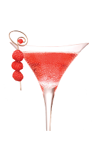 The Sweet-tini cocktail is made from Chambord flavored vodka, cranberry juice, apple juice and chilled champagne, and served in a chilled champagne glass.