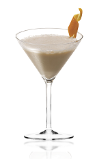 The Swinging Safari is a brown colored cocktail made from Amarula cream liqueur, vodka and Cointreau orange liqueur, and served in a chilled cocktail glass.