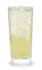 The Tahitian Treat is a clear drink made from pineapple schnapps, peach schnapps and lemon-lime soda, and served over ice in a highball glass.