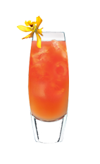 The Tongue Teaser drink is made from Smirnoff orange vodka, lemonade and cranberry juice, and served over ice in a highball glass.