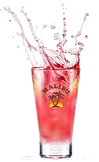 The Twisted Pink drink is made from Malibu coconut rum, cranberry juice and grapefruit juice, and served over ice in a highball glass.