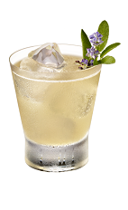 The Undercover Mink drink is made from Chambord flavored vodka, honey, lemon juice, sage leaves, mineral water and lavender, and served in an old-fashioned glass.