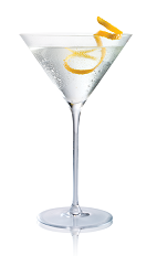 The Vesper Martini is made from Stoli Gold vodka, gin and sweet vermouth, and served in a chilled cocoktail glass.