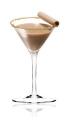 The White Nile Martini is a brown colored cocktail made from Amarula cream liqueur, dark creme de cacao, Cointreau orange liqueur and chocolate, and served in a chilled cocktail glass.