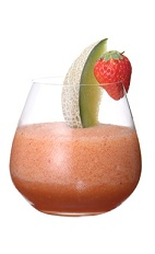 The Zulu Warrior drink is made from Midori melon liqueur, strawberry liqueur, lemon juice, fresh melon and strawberries, and served in a rocks glass.