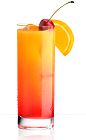 The 901 Sunrise is an orange colored drink recipe made from 901 Silver tequila, orange juice and grenadine, and served over ice in a highball glass garnished with an orange slice and a maraschino cherry.