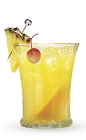 The 9 Apple cocktail recipe is a yellow colored drink made from Cruzan 9 spiced rum and pineapple juice, and served over ice in a highball glass.