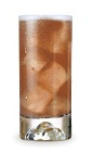 The All American is a brown colored drink made from peach schnapps, bourbon and cola, and served over ice in a highball glass.