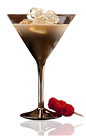 The Amarula Martini is a brown colored cocktail made from Amarula cream liqueur, gin, bitters and lemon, and served over ice in a cocktail glass.