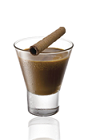 The Amarula Tusk at Dusk is a brown colored shot made from Amarula cream liqueur and chilled espresso, and served in a chilled shot glass.
