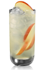The Apple and Sour Mix is made from Bacardi apple rum, sour mix and apples, and served over ice in a highball glass.